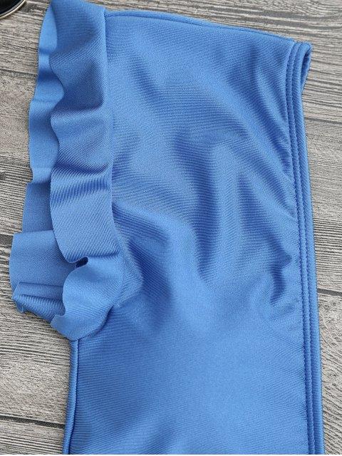 Maillot de bain une-pièce col plongeant à volants - Bleu S Mobile