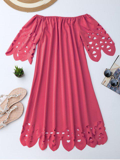 Vestido de Encaje con Vuelo con Hombros al Aire - Rojo L Mobile