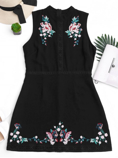 unique Floral Embroidered Lace Trim Mini Dress - BLACK M Mobile