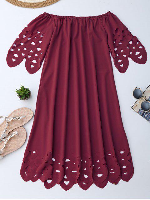 fashion Off The Shoulder Flared Dress - BURGUNDY S Mobile