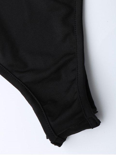 chic Plunging Neck Split Sleeve Bodysuit - BLACK S Mobile