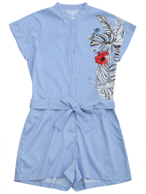 fashion Striped Graphic Belted Romper With Pockets - STRIPE S Mobile