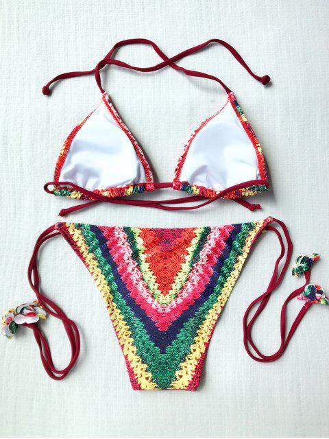 hot Stripe Print High Leg Bikini Set - MULTICOLOR S Mobile