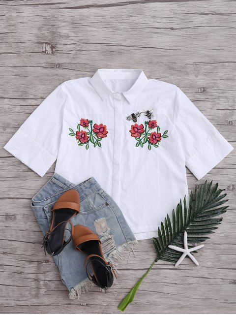 hot Beading Patched Floral Embroidered Top - WHITE M Mobile