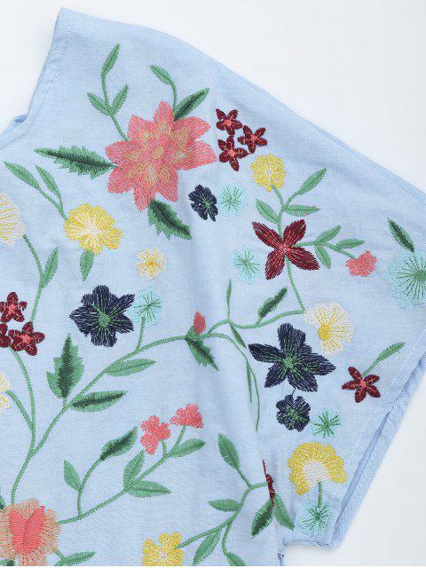 Chambray brodé floral Broche Romper - Bleu clair M Mobile