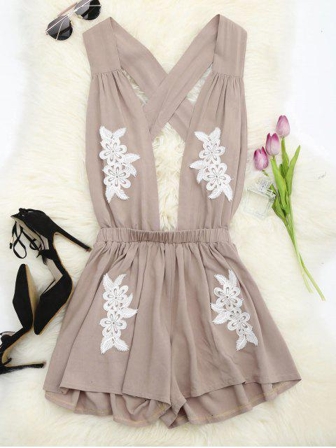 trendy Halter Floral Patched Open Back Romper - YELLOWISH PINK S Mobile