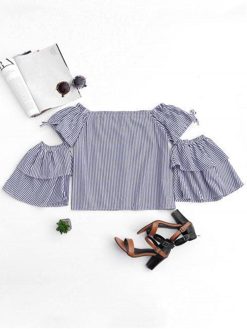 women's Cut Out Sleeve Off Shoulder Stripes Top - STRIPE S Mobile