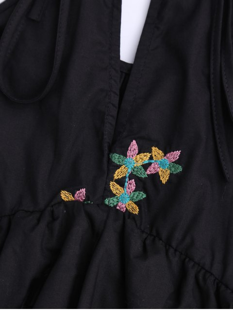 ladies Sleeveless Layered Floral Embroidered Top - BLACK L Mobile