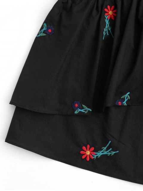 best Sleeveless Layered Floral Embroidered Top - BLACK S Mobile