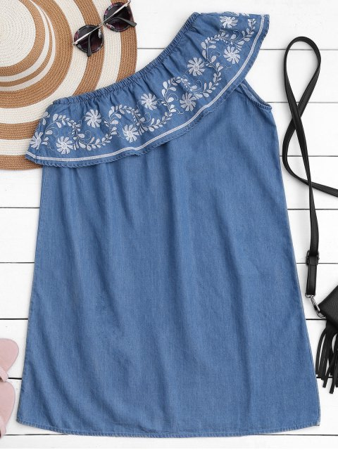 outfits Embroidered Ruffles One Shoulder Casual Dress - DENIM BLUE S Mobile