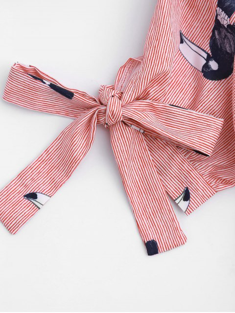 ladies Striped Bird Graphic Bowknot Top - STRIPE S Mobile