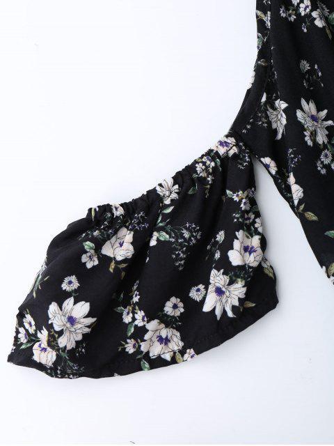 hot Cold Shoulder Ruffle Cami Floral Romper - BLACK S Mobile