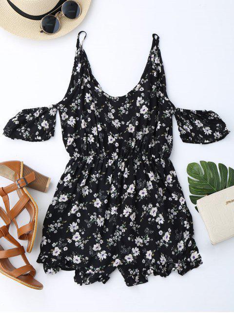 Combishorts à épaules dénudées à bretelle imprimé de fleurs avec falbalas - Noir XL Mobile