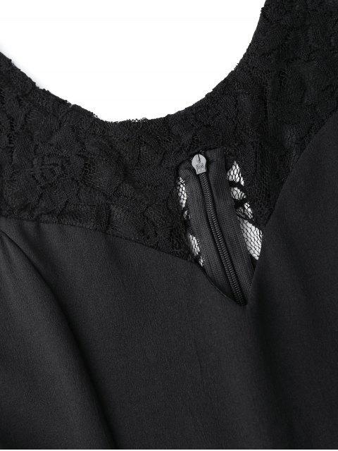fashion Sleeveless Cutout Lace Insert Romper - BLACK S Mobile