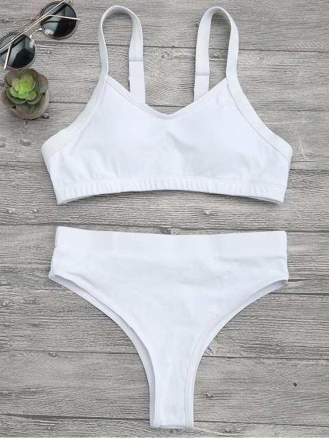 shops High Cut Bralette Bikini Top and Bottoms - WHITE M Mobile