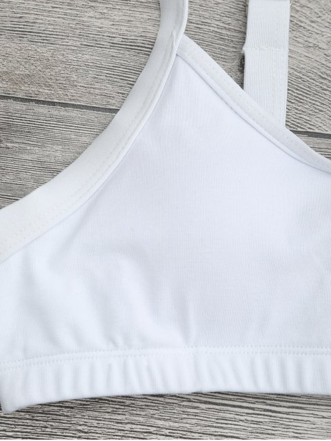 latest High Cut Bralette Bikini Top and Bottoms - WHITE S Mobile