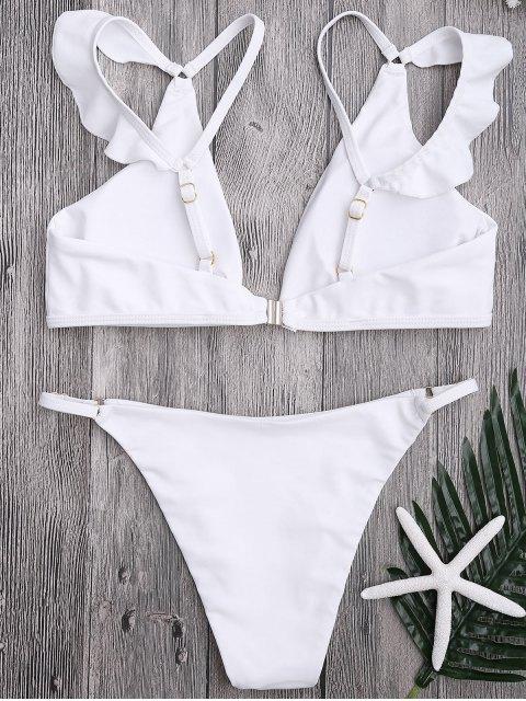 buy Plunge Adjustable String Bikini Set - WHITE M Mobile