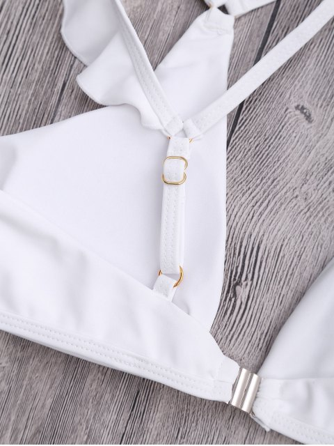 womens Plunge Adjustable String Bikini Set - WHITE S Mobile