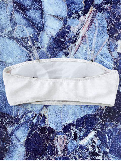 chic Textured Bandeau Bikini Top - WHITE L Mobile