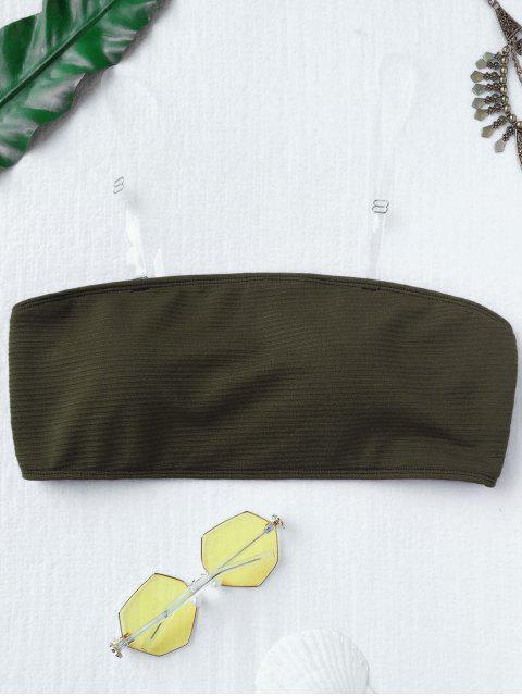 best Textured Bandeau Bikini Top - DEEP GREEN S Mobile