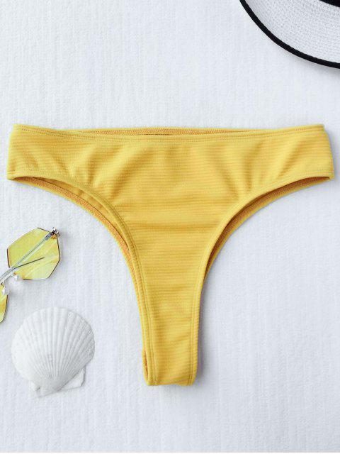 shop Textured High Leg Bikini Bottoms - YELLOW S Mobile