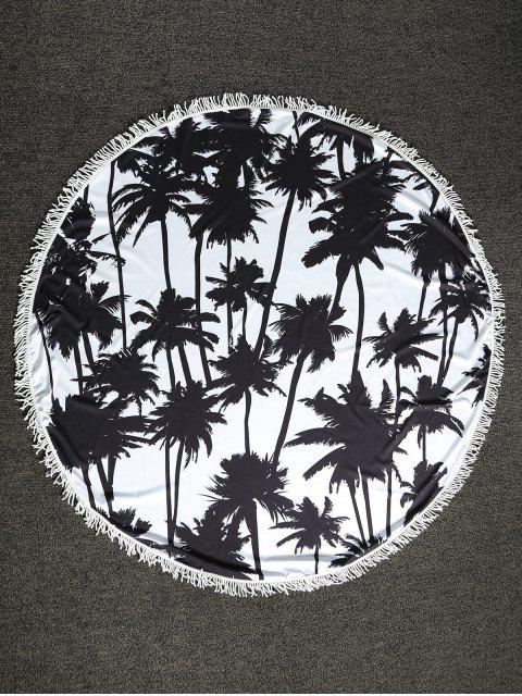 lady Palm Tree Round Beach Throw - WHITE AND BLACK ONE SIZE Mobile