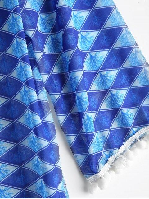 shop Diamond Chiffon Beach Cover Up Dress - BLUE ONE SIZE Mobile
