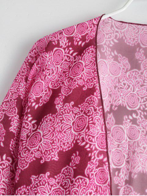 shops Tasselled Chiffon Kimono Beach Cover Up - ROSE ONE SIZE Mobile