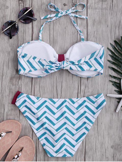 womens Bowknot Strapless Bikini Set - LIGHT BLUE L Mobile