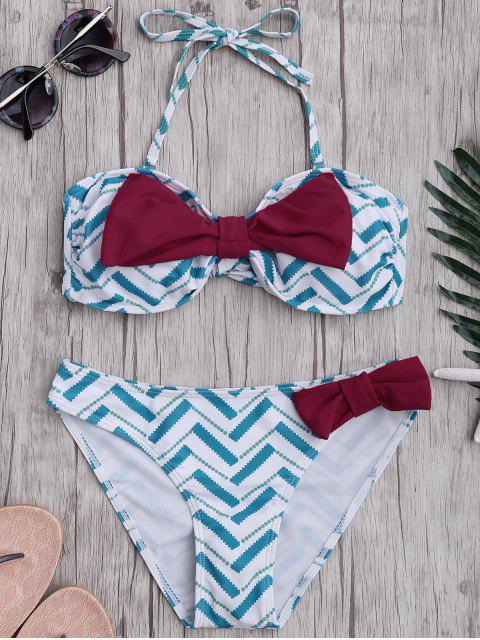 affordable Bowknot Strapless Bikini Set - LIGHT BLUE S Mobile