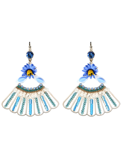 latest Rhinestone Fringed Flower Dangle Earrings - BLUE  Mobile