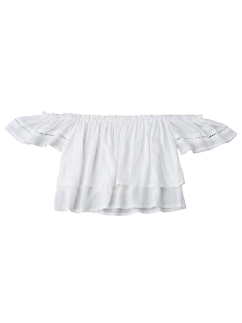 sale Off Shoulder Ruffles Layered Top - WHITE S Mobile