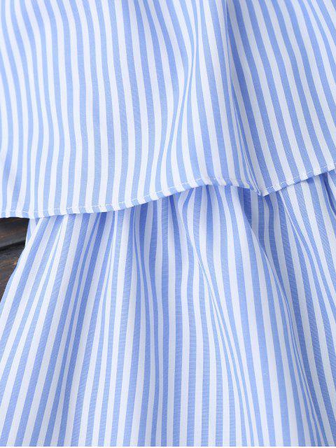 Ruffle Striped Off The Shoulder Romper - Bleu M Mobile