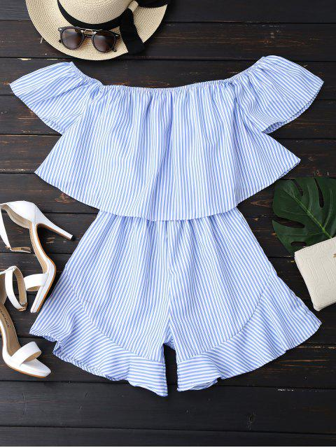 women Ruffle Striped Off The Shoulder Romper - BLUE L Mobile