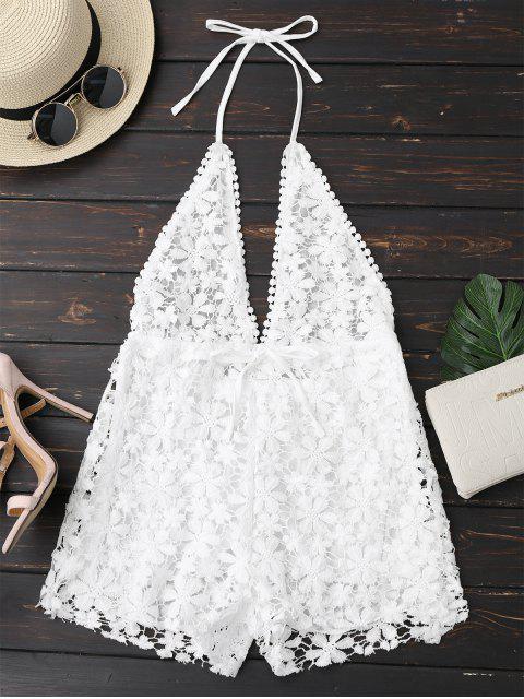 women's Crochet Plunge Backless Halter Romper - WHITE S Mobile