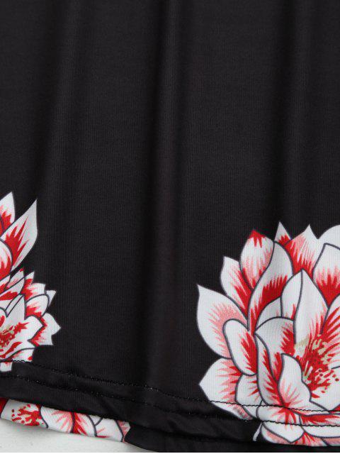 outfit Halter Floral Open Back Dress - BLACK S Mobile