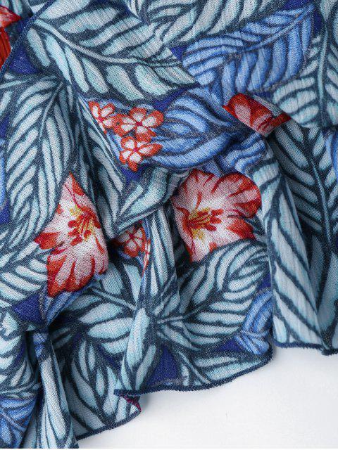 sale Leaf Print Off Shoulder Maxi Cover Up Dress - FLORAL M Mobile