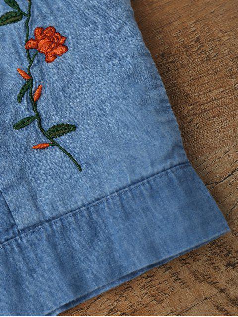 top coupé court en jean et brodé à motif floral - Bleu Glacé M Mobile