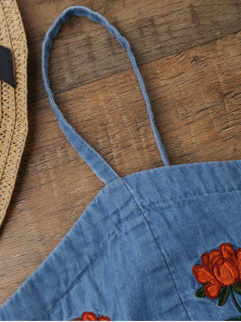 top coupé court en jean et brodé à motif floral - Bleu Glacé S Mobile