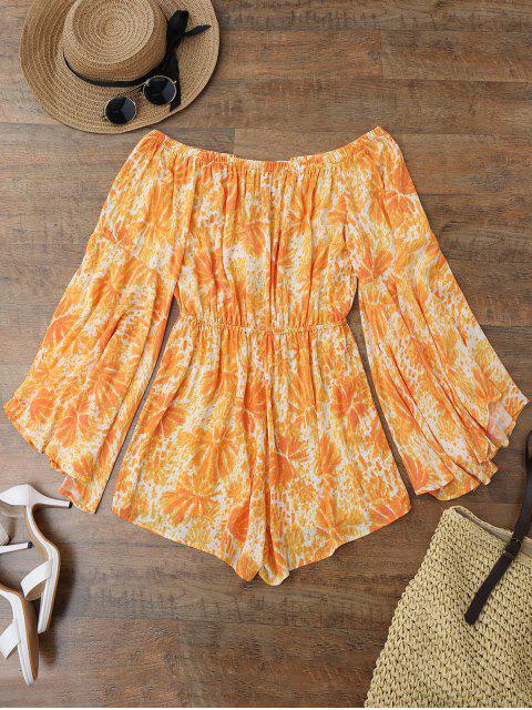 Combinaison de plage imprimée à manches évasées à épaules dénudées - Orange L Mobile