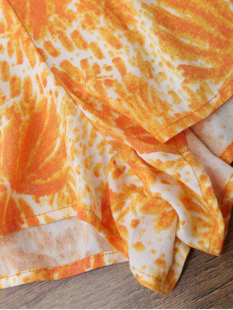 ladies Printed Flare Sleeve Off Shoulder Beach Romper - ORANGE M Mobile