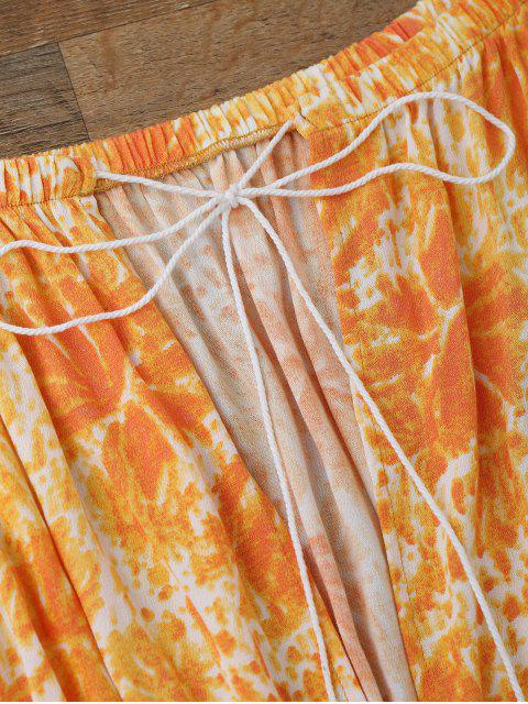 lady Printed Flare Sleeve Off Shoulder Beach Romper - ORANGE S Mobile