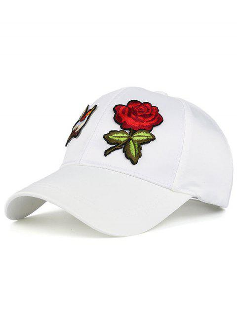 outfit Bird Rose Patchwok Baseball Hat - WHITE  Mobile