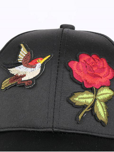 outfits Bird Rose Patchwok Baseball Hat - PINK  Mobile