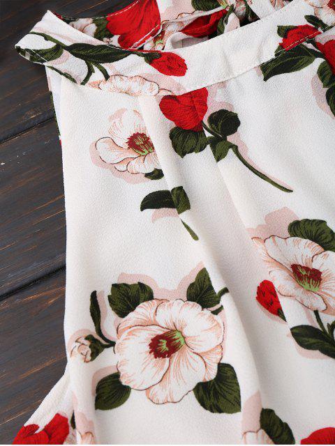 Combishorts imprimé fleur avec haut popover - Blanc S Mobile
