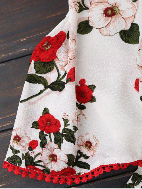 Combishorts imprimé fleur avec haut popover - Blanc L Mobile