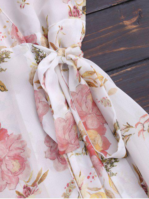 latest Floral Flounces Wrap Mini Dress - FLORAL S Mobile