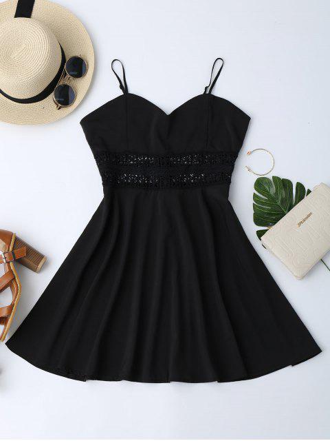 Vestido de Patinador de Sol con Tirantes Finos con Ganchillo Ahuecado - Negro L Mobile