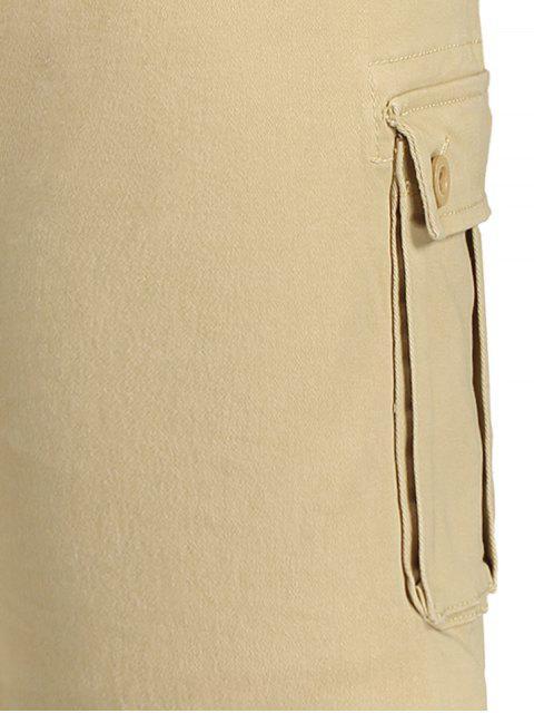 ladies Multi Pockets Bermuda Cargo Shorts - KHAKI 34 Mobile