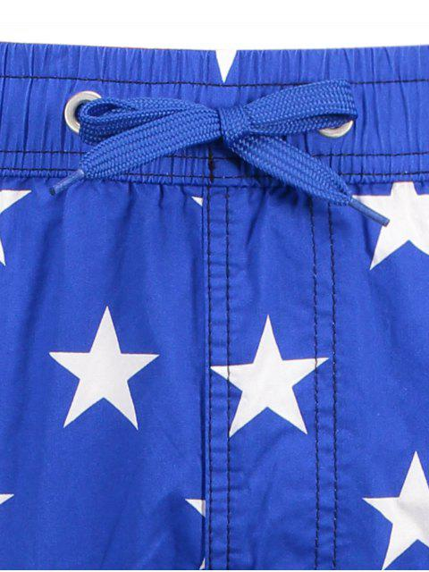 buy Star and Stripe Printed Drawstring Board Shorts - BLUE L Mobile